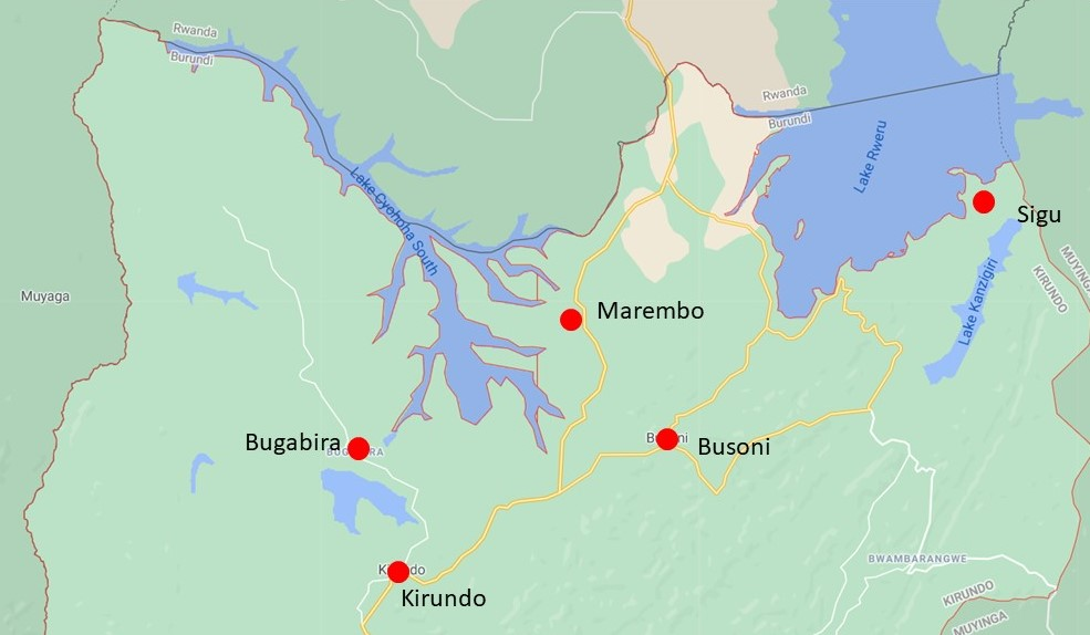 map of the sites in Kirundo province