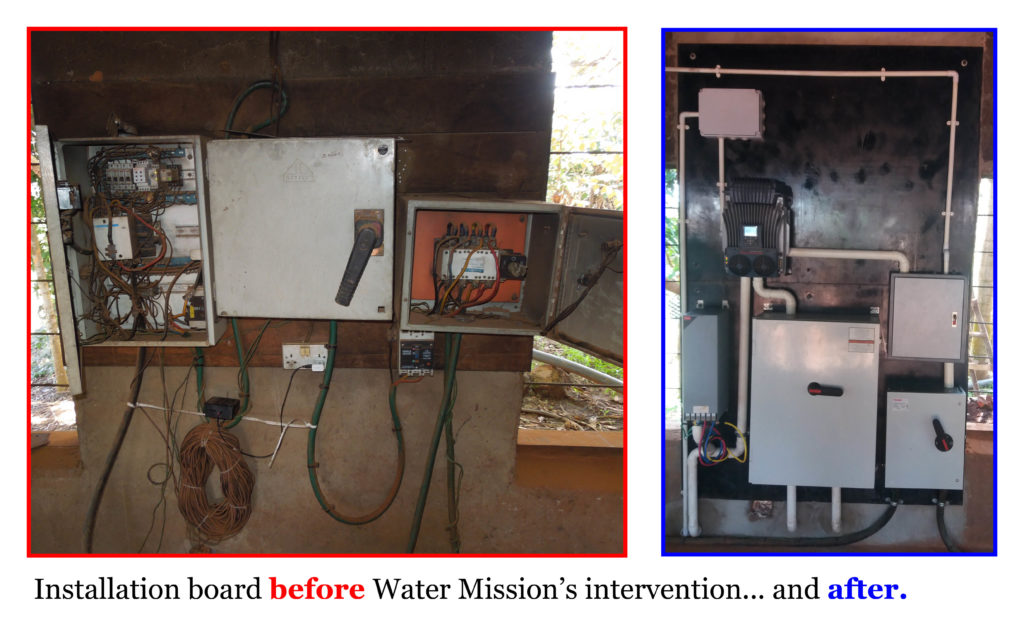 Installation board before Water Mission's intervention... and after.