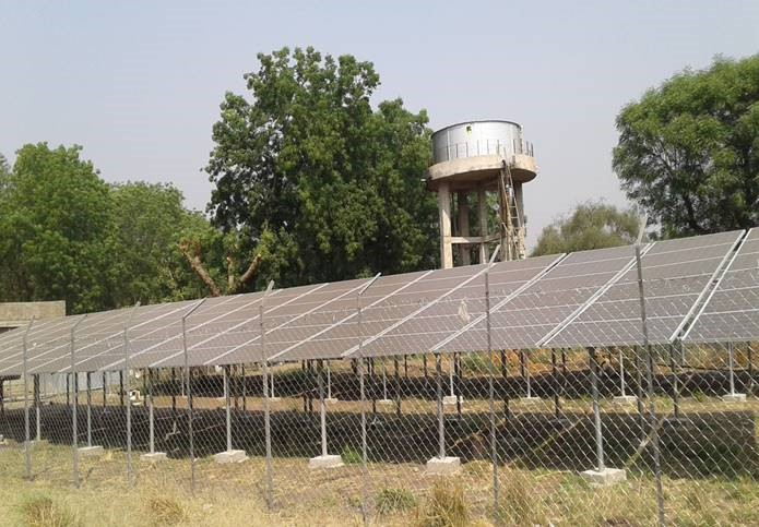 Solar panels and elevated water tank
