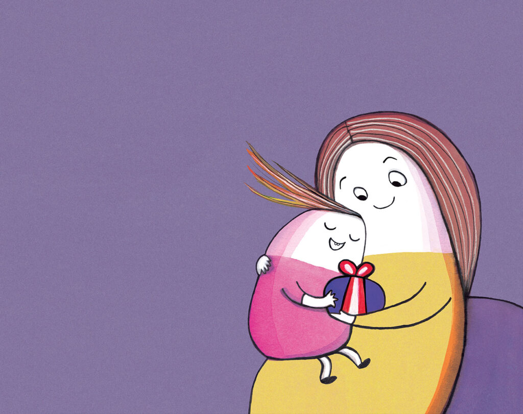 Mor med barn på skødet