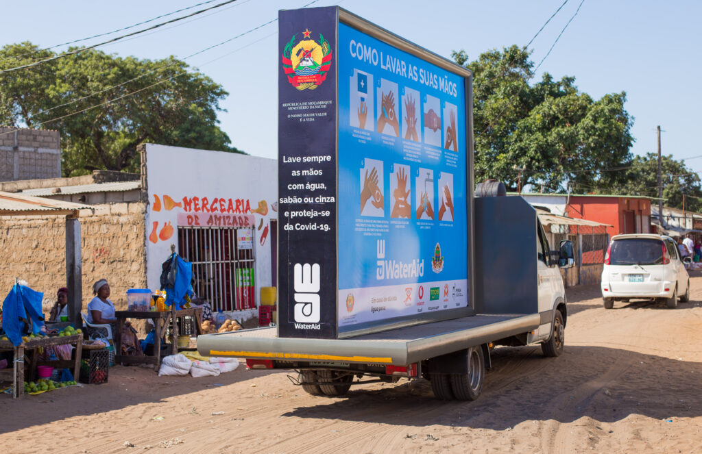 WaterAid Mozambique: Mobile billboard with hand washing instructions.