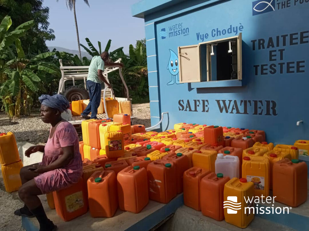 Safe water tap station in Haiti.
